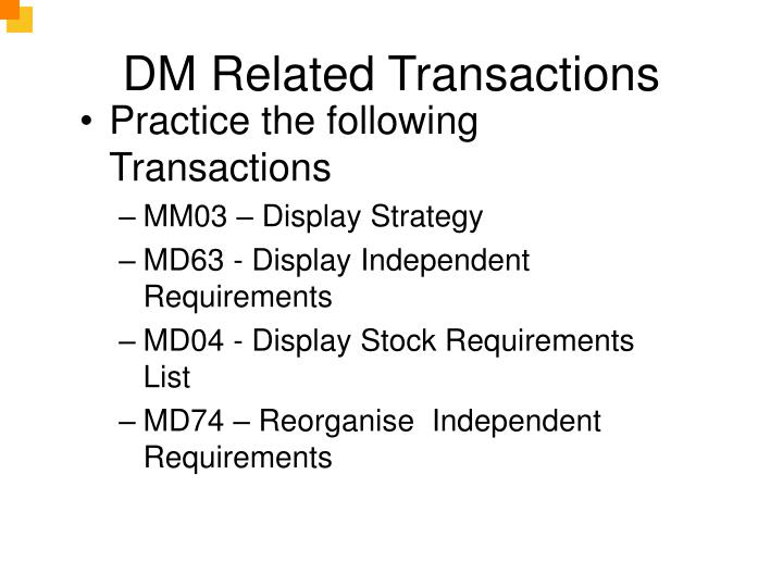DM Related Transactions