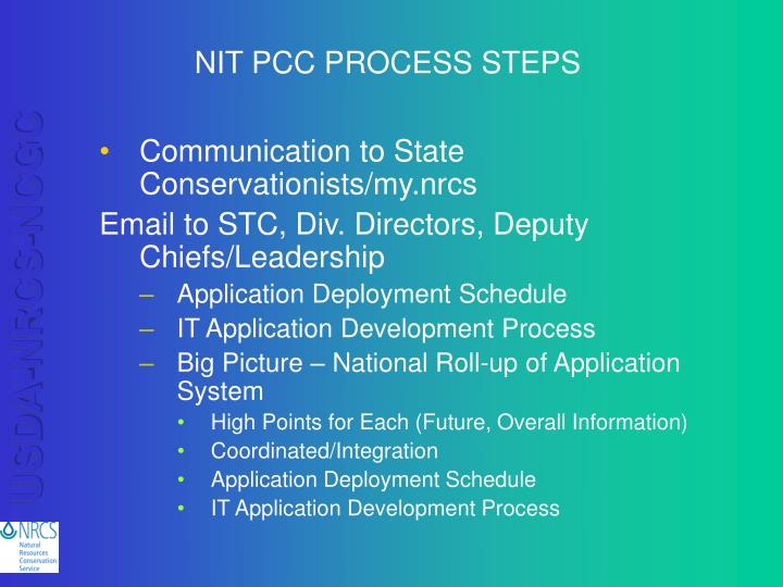 NIT PCC PROCESS STEPS