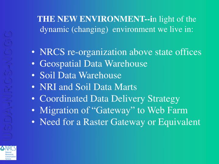 THE NEW ENVIRONMENT--i