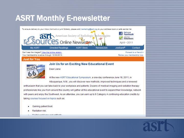 ASRT Monthly E-newsletter