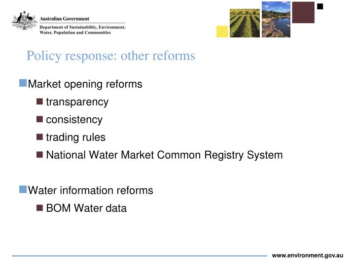 Policy response: other reforms