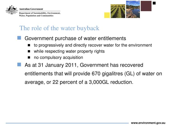 The role of the water buyback