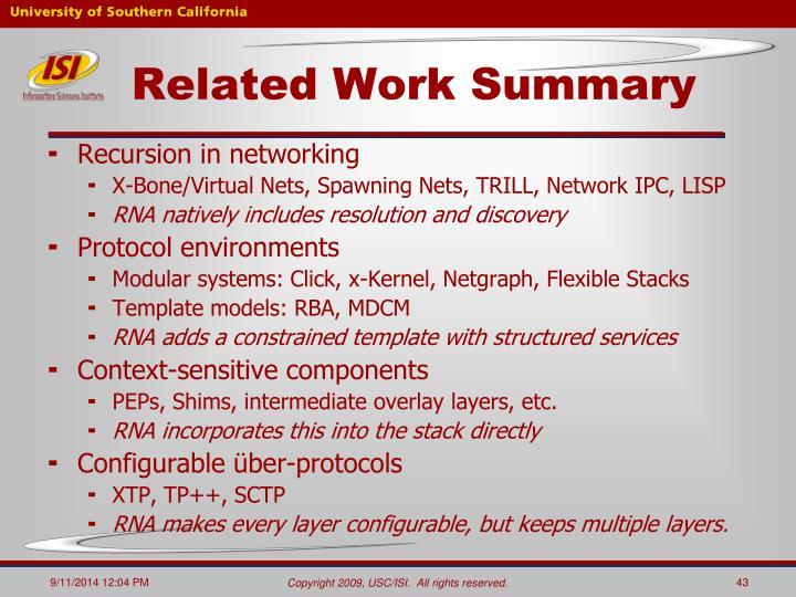 Related Work Summary