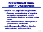 key settlement terms inter rto cooperation