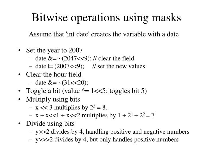 Bitwise operations using masks