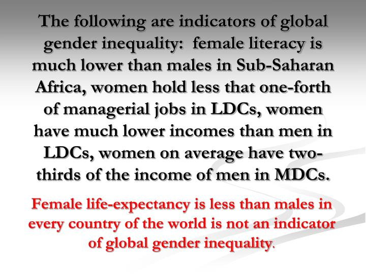 The following are indicators of global gender inequality:  female literacy is much lower than males in Sub-Saharan Africa, women hold less that one-forth of managerial jobs in LDCs, women have much lower incomes than men in LDCs, women on average have two-thirds of the income of men in MDCs.