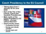 czech presidency t o the eu council