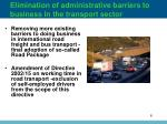 elimination of administrative barriers to business in the transport sector