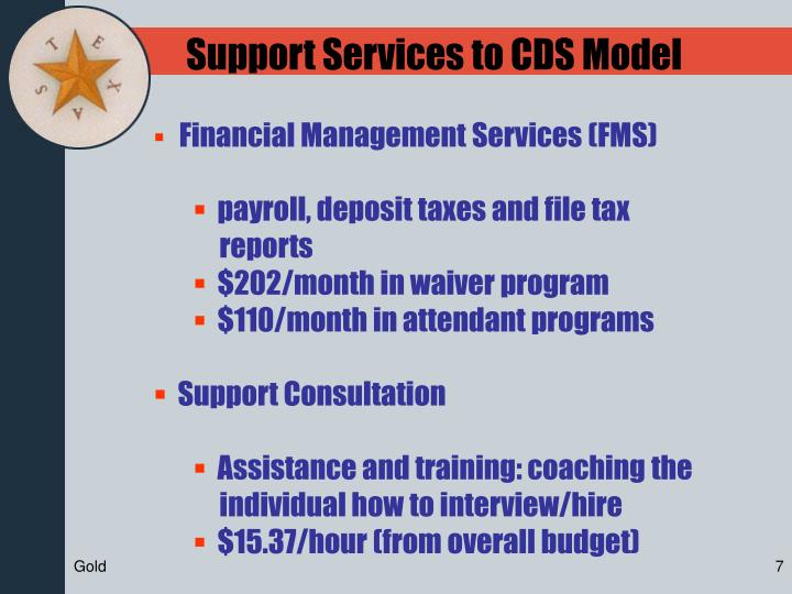 Support Services to CDS Model