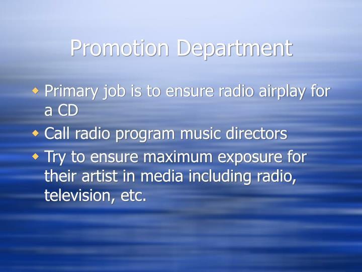 Promotion Department