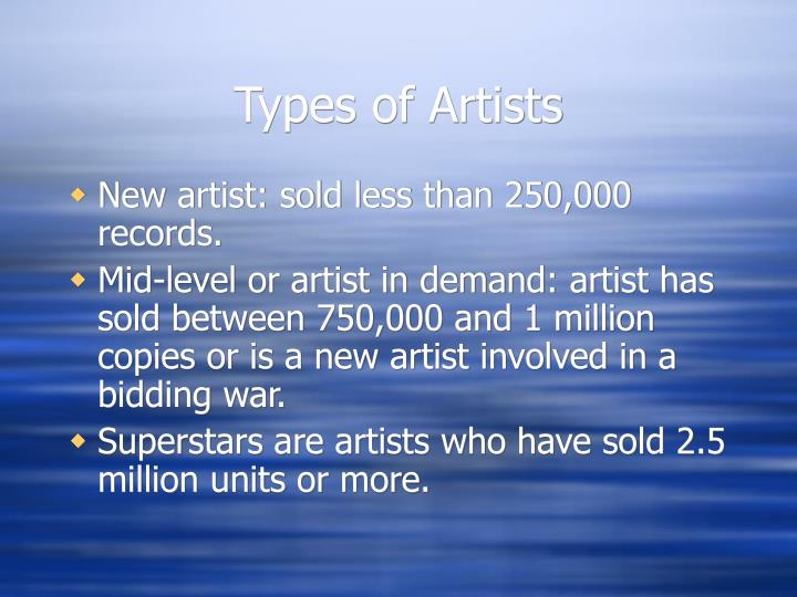 Types of Artists