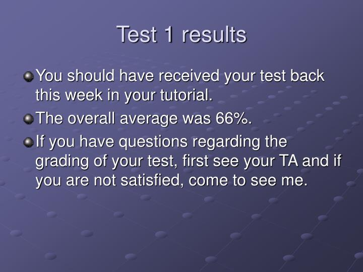 Test 1 results