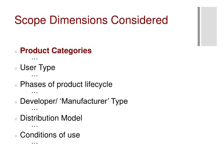 Scope Dimensions Considered