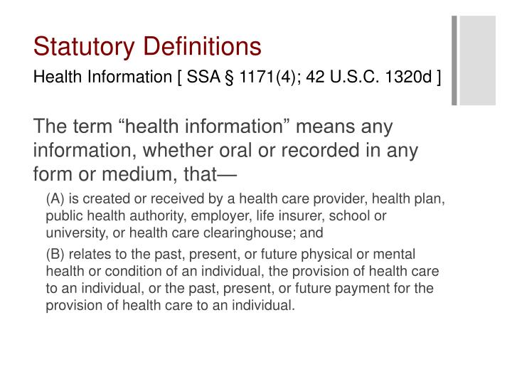 Statutory Definitions