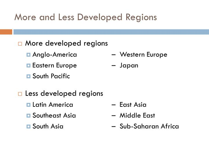 More and Less Developed Regions