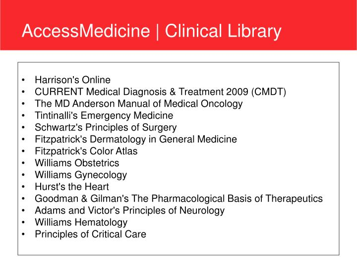 Accessmedicine clinical library