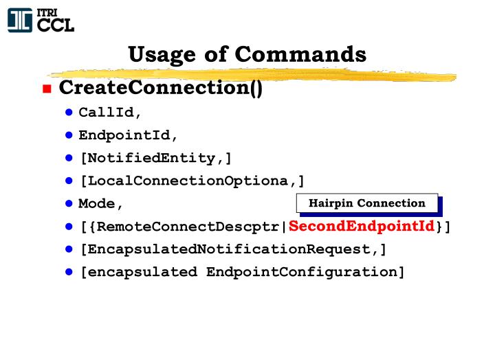 Usage of Commands