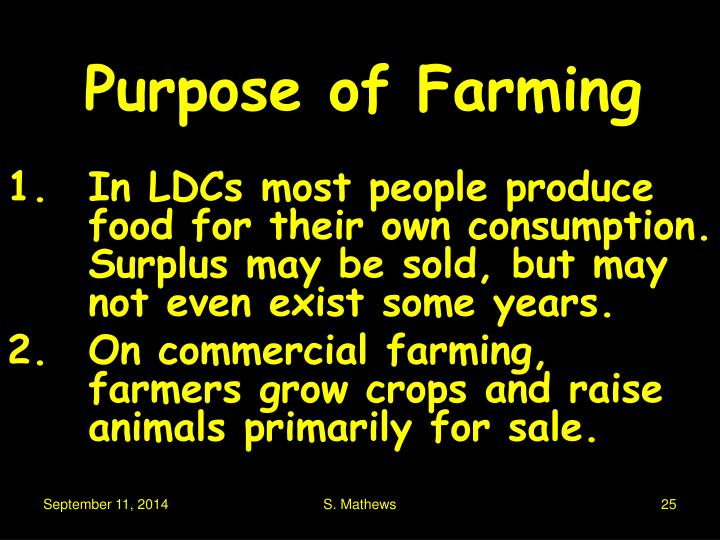 Purpose of Farming