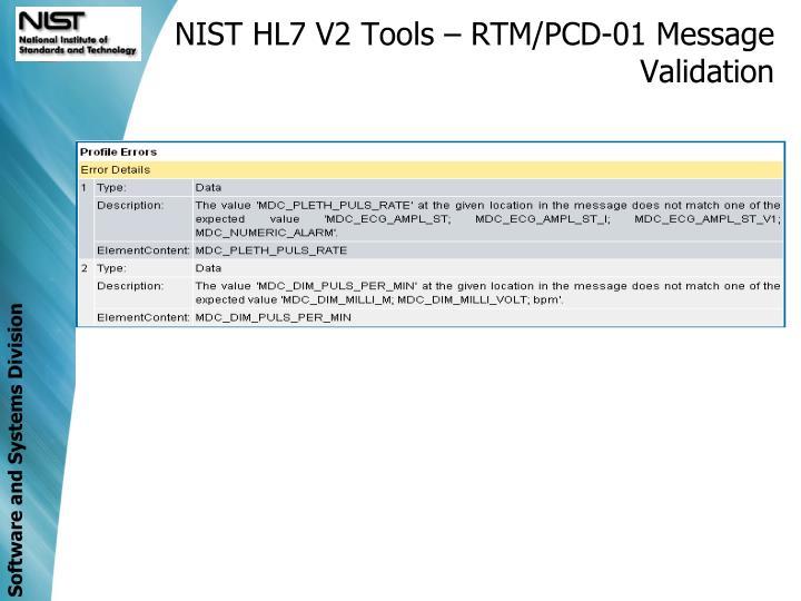 NIST HL7 V2 Tools – RTM/PCD-01 Message Validation