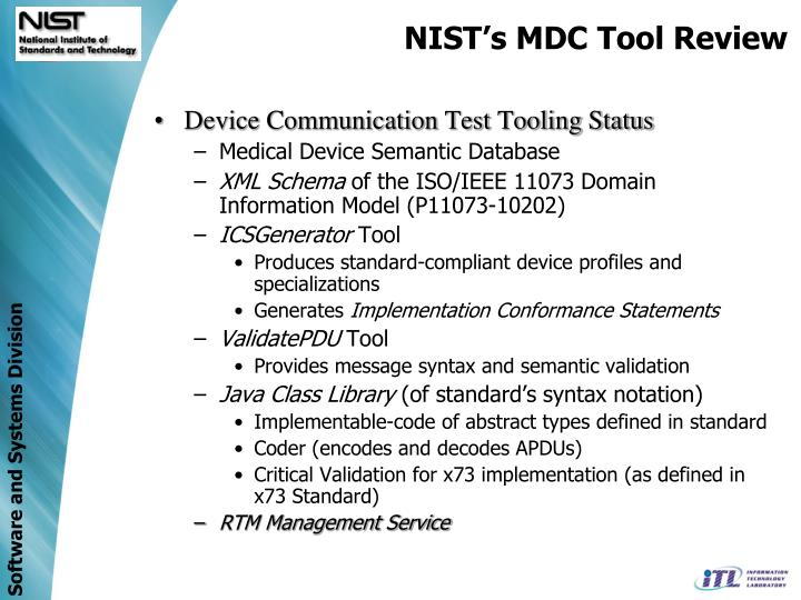 NIST's MDC Tool Review