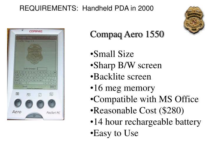 REQUIREMENTS:  Handheld PDA in 2000