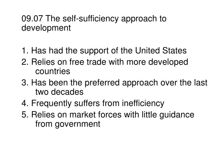 09.07 The self-sufficiency approach to development