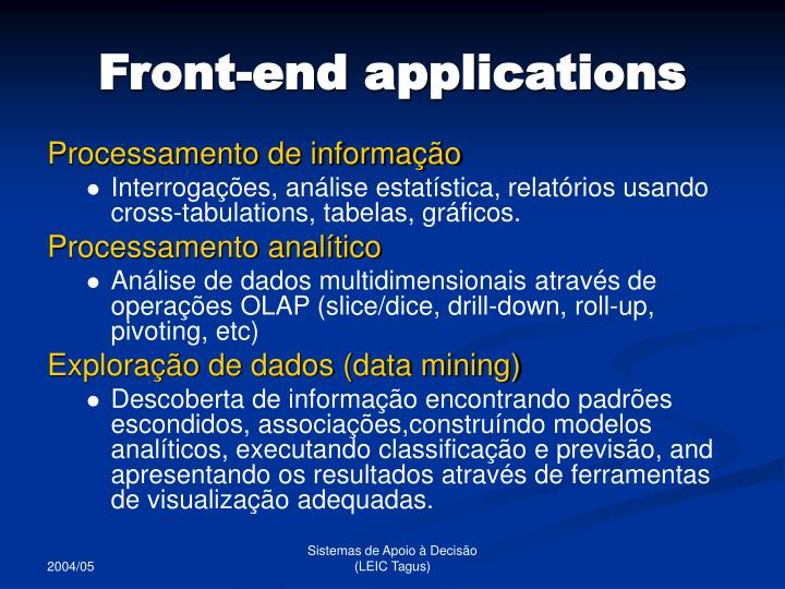 Front-end applications