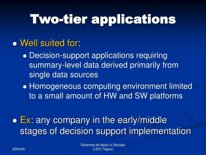 Two-tier applications