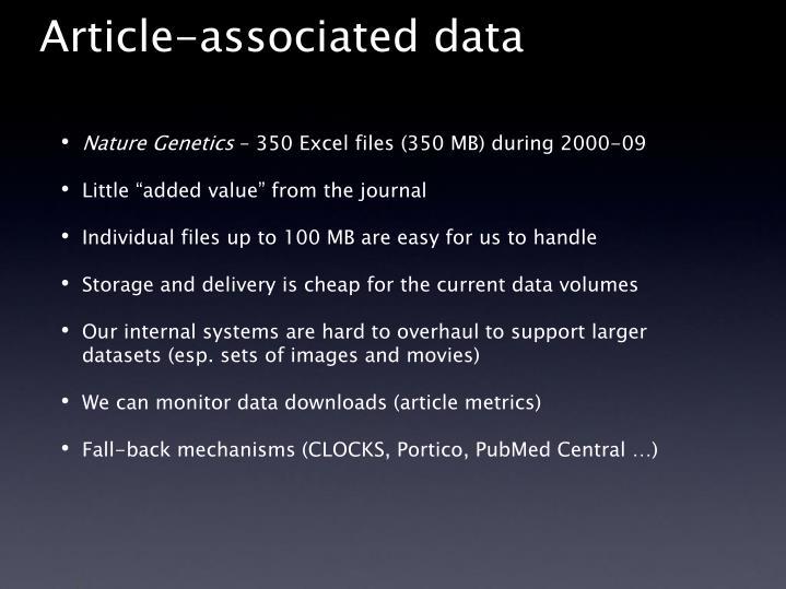 Article associated data