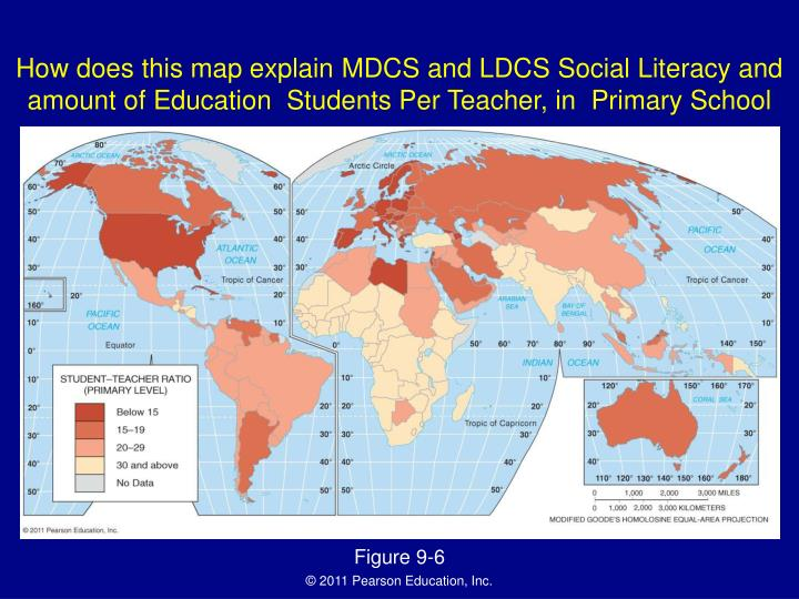 How does this map explain MDCS and LDCS Social Literacy and amount of Education  Students Per Teacher, in  Primary School