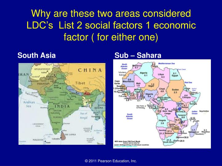 Why are these two areas considered LDC's  List 2 social factors 1 economic factor ( for either one)