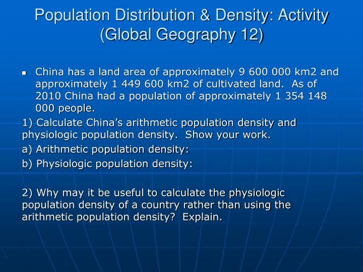 Population Distribution & Density: Activity