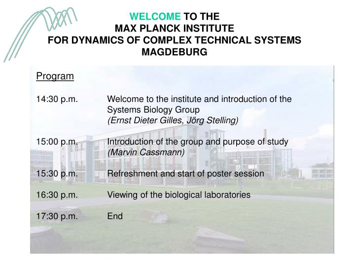 welcome to the max planck institute for dynamics of complex technical systems magdeburg n.