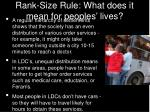 rank size rule what does it mean for peoples lives