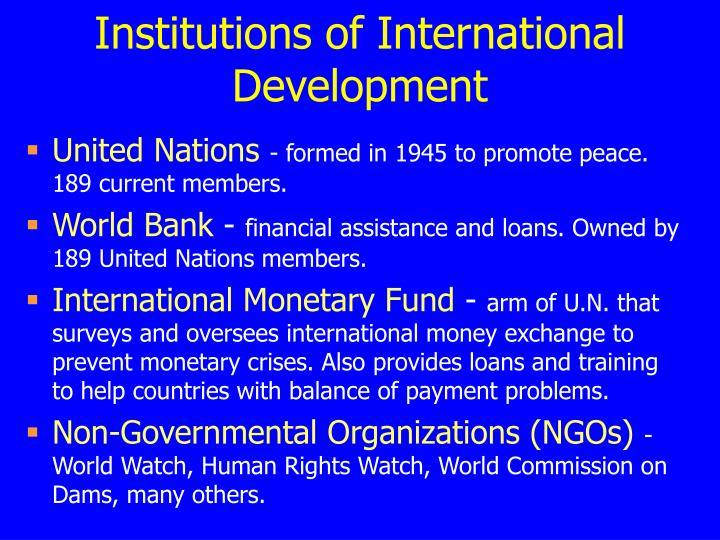 Institutions of International Development