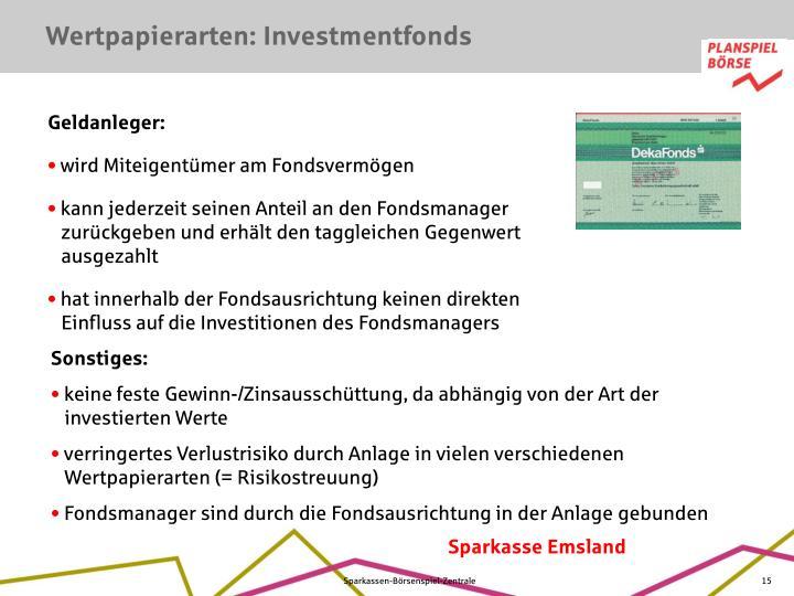 Wertpapierarten: Investmentfonds