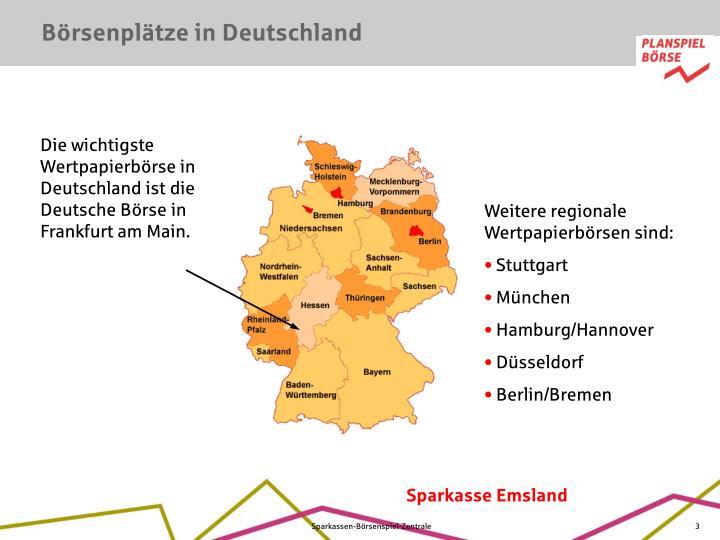 Börsenplätze in Deutschland