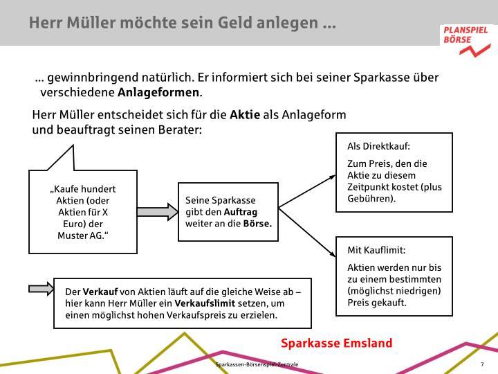 Herr Müller möchte sein Geld anlegen ...
