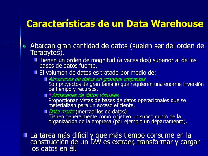 Características de un Data Warehouse