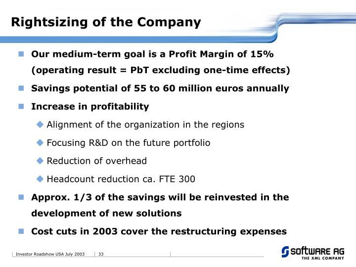 Rightsizing of the Company