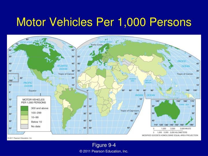 Motor Vehicles Per 1,000 Persons