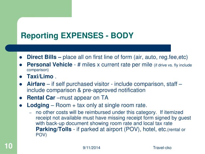 Reporting EXPENSES - BODY