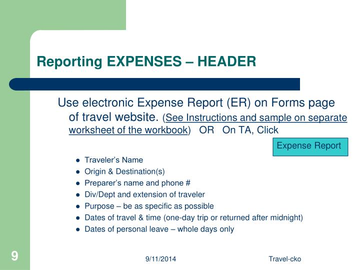 Reporting EXPENSES – HEADER