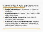 community radio partners cont