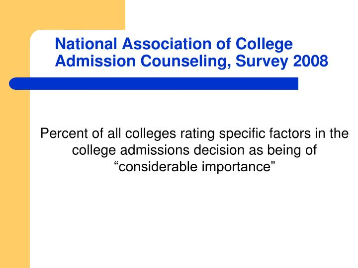 """Percent of all colleges rating specific factors in the college admissions decision as being of """"considerable importance"""""""