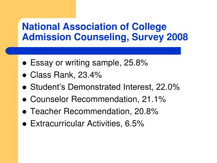 National Association of College Admission Counseling, Survey 2008