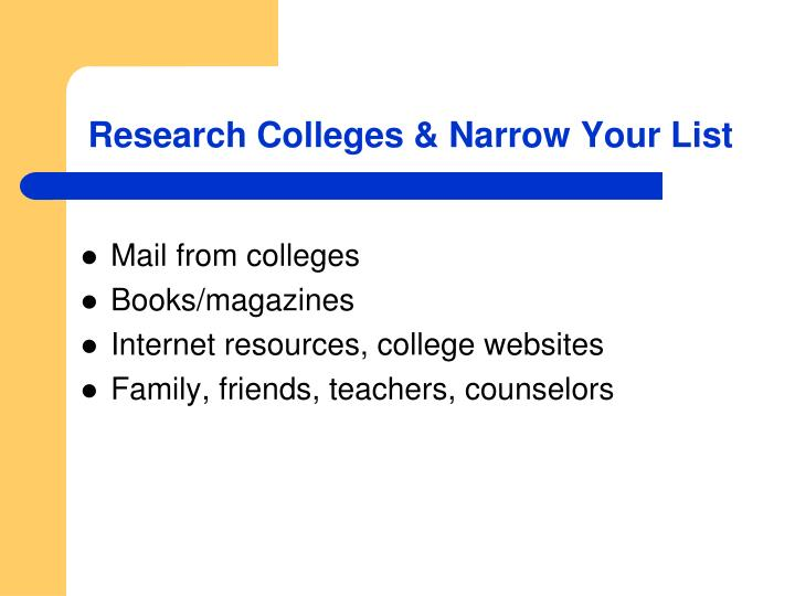 Research Colleges & Narrow Your List