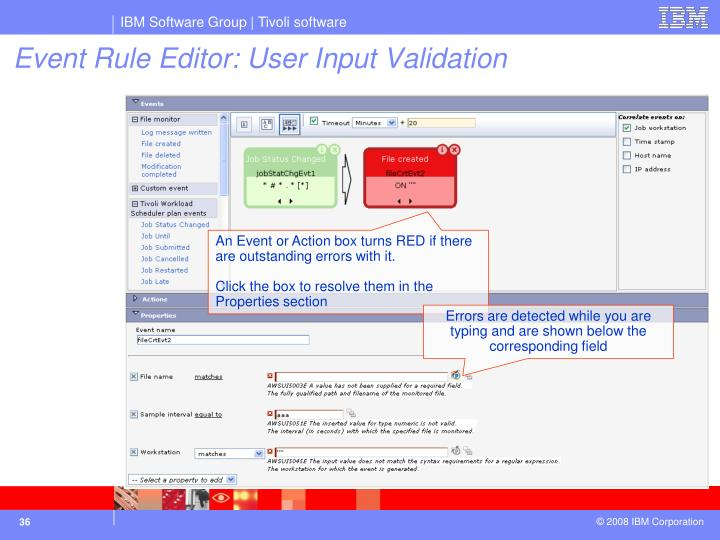 Event Rule Editor: User Input Validation