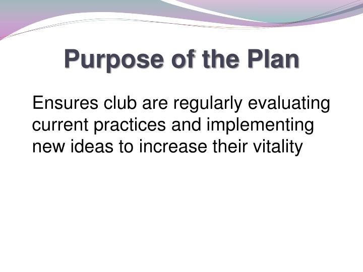 Purpose of the Plan