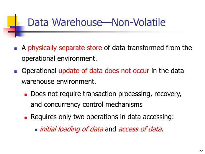 Data Warehouse—Non-Volatile